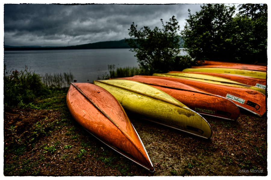 scratches, scratched, canoe, canoes, dawn, sunrise, Kilarney Lodge, Ontario, Canada, lake, lakeside